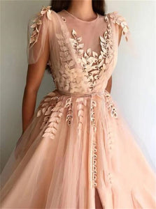 A Line Blush Pink Tulle Prom Dresses with Slit