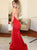 Mermaid Round Neck Red Split Side Prom Dresses With Keyhole