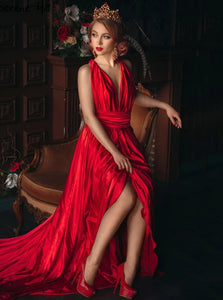 Chic Red V Neck A Line Satin Pleats Prom Dresses with Slit