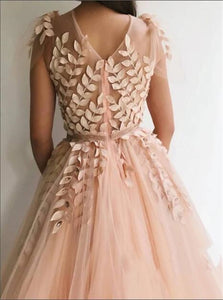 Blush Pink Tulle 3D Flowers Short Sleeves Prom Dresses