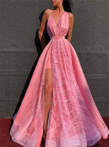 A Line V Neck Pink Satin Floor Length Prom Dresses with Slit