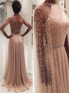 A Line Scoop Long Sleeves Tulle Pink Prom Dresses with Beadings