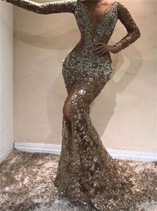 Mermaid Long Sleeves Open Back Sequins Long Prom Dress LBQ0807