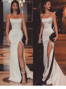 Mermaid Strapless White Floor Length Prom Dresses with Slit