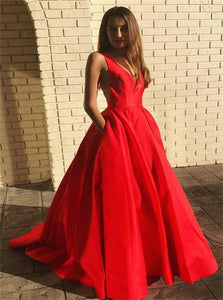 V Neck Satin Red Sweep Train Prom Dresses With Pocket