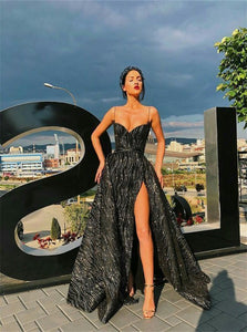 A Line Sleeveless Black Prom Dress with Sweep Train