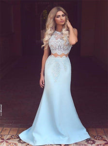 Two Pieces Light Blue Ball Gown Lace Prom Dresses