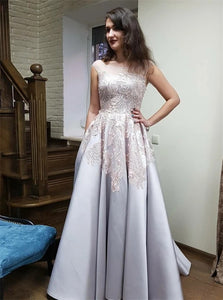A Line Scoop Backless Appliques Satin Sweep Train Prom Dresses