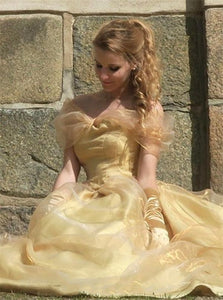 Yellow Organza Off The Shoulder Ball Gown Prom Dresses LBQ1413