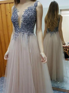 A Line Tulle Backless Appliques and Beadings Scoop Prom Dresses