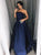 Sweep Train Sleeveless Navy Blue Satin Prom Dresses