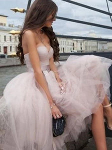 Strapless A Line Nude Pink Short Tulle Prom Dresses