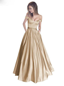 A Line Off the Shoulder Beadings Satin Floor Length Prom Dresses