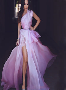 One Shoulder A Line Organza Slit Prom Dresses with Sweep Train