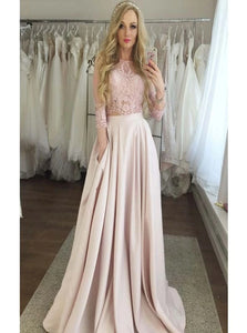 Two Pieces Lace Top 3/4 Sleeves Long A Line Satin Prom Dresses