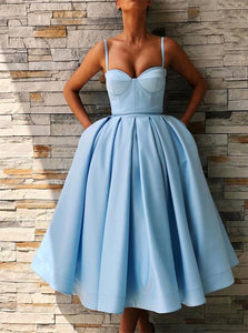 Ball Gown Satin Spaghetti Straps Tea Length Prom Dress
