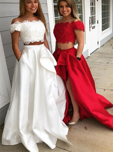 Two Piece Off the Shoulder White Prom Dresses with Lace Top