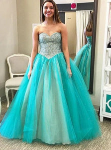 Sweetheart Beading Ball Gown Tulle Prom Dresses with Lace Up