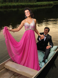 Sweep Train Sleeveless Rose Pink Prom Dresses