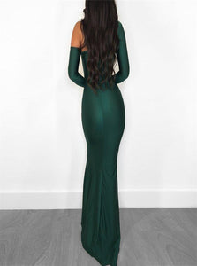 Mermaid Long Sleeves Prom Dresses with Sweep Train