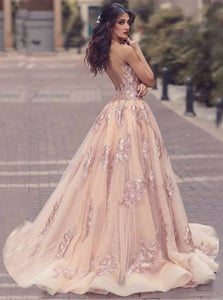 A Line V Neck Tulle Sweep Train Open Back Prom Dresses with Lace Appliques