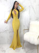 Mermaid Long Sleeves Zipper Up Yellow Prom Dresses