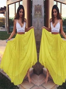 Sweep Train V Neck Chiffon Yellow Sleeveless Prom Dresses With Lace