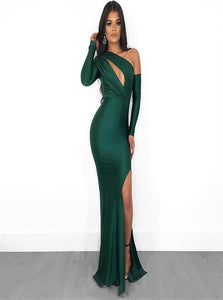 Mermaid One Shoulder Green Satin Prom Dresses
