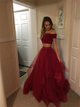 Burgundy Two Pieces Tulle Off the Shoulder Prom Dresses with Ruffles