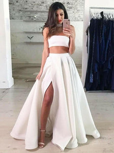 Two Piece Strapless Floor Length White Prom Dresses with Split
