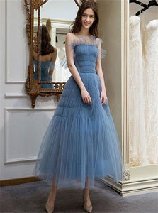 A Line Blue Spaghetti Straps Tulle Prom Dresses with Pleats