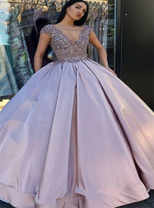 Ball Gown V Neck Satin Prom Dresses with Beadings