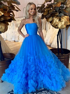 A Line Strapless Blue Tulle Long Prom Dresses