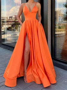 A Line V Neck Satin Orange Prom Dresses with Leg Slit