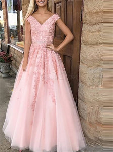 A Line V Neck Sleeveless Beadings Brush Chiffon Prom Dresses