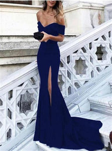 Mermaid Off the Shoulder Blue Sweep Train Prom Dresses with Slit
