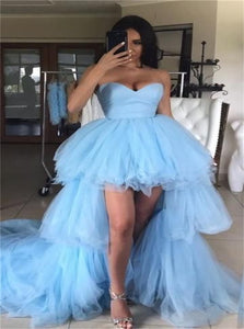 Blue Tulle High Low Sweetheart Prom Dresses with Pleats