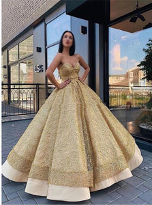 Ball Gown Golden Floor Length Prom Dresses with Pleats