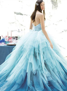 Strapless Tulle Blue Floor Length Appliques Prom Dresses