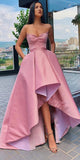 Pink Asymmetrical A Line Sweetheart Prom Dresses with Pleats
