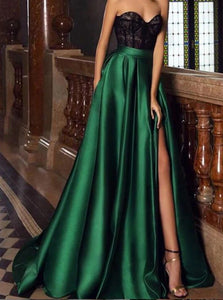 Black Lace Sweetheart Green Satin Prom Dresses With Slit