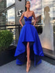 Royal Blue High Low A Line Sleeveless Prom Dresses