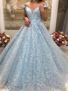 Ball Gown Light Blue Lace Off the Shoulder Prom Dresses