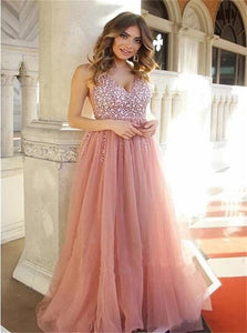 A Line V Neck Tulle Beadings Lace Up Prom Dresses