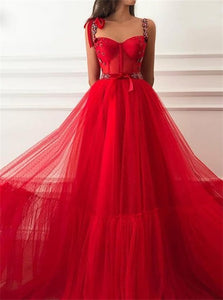 Red Tulle  A Line Strap Pleats Floor Length Prom Dresses
