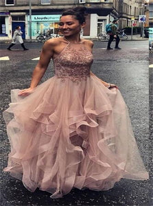 A Line Long Sleeves Criss Cross Appliques  Ruffles Tulle Prom Dress