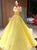 Yellow Floor Length Square Neck Beadings Prom Dresses