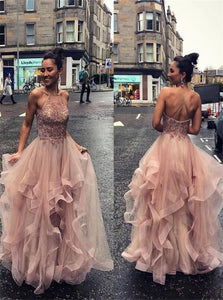 Sweep Train Spaghetti Straps Pink Evening Dresses