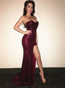 Burgundy Sequin Sweetheart Mermaid Prom Dresses with Slit