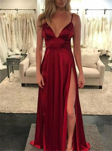Sexy Burgundy Satin Spaghetti Straps Prom Dresses With Slit
